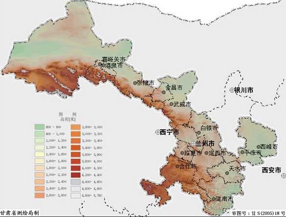 甘肃省地形图