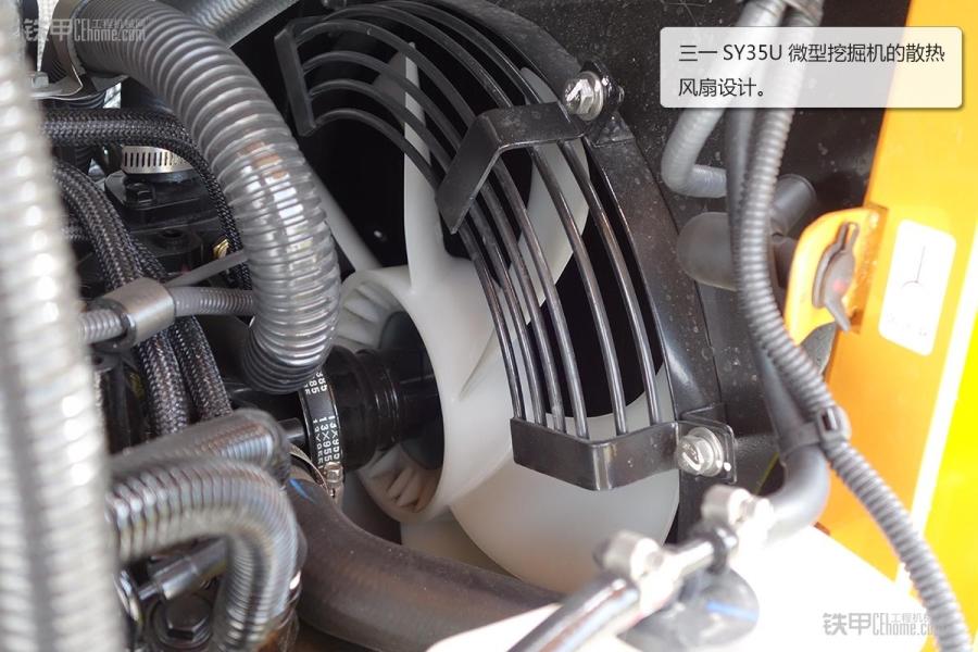 三一sy35u微型挖掘机采用了洋马三缸四冲程直喷发动机.